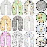 Stillkissen/Lagerungskissen/Seitenschläferkissen/Kissen mit bunten Motiven Baby Kind (160 cm) (IGEL WEIß/GRAU)