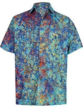 *La Leela* Pulsante Spiaggia in Fondo Casuale Hawaiano Manica Corta Shirt Uomo Turchese