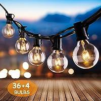 IREGRO Guirlande Lumineuse G40 Lampes Cordes 40 Ampoule 12.8 M Etanche Décoratif S'Allume pour l'Indoor, Outdoor, Chambre, Patio, Mariage, Fête, Décorations de Noël