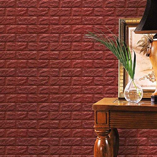 ttoos Ronamick PE Schaum 3D Wallpaper DIY Wandaufkleber Wand Dekor Geprägte Ziegel Stein Wandtattoo Wandaufkleber Sticker Wanddeko (Braun) (Braun 3d Schmetterling Wand-dekor)