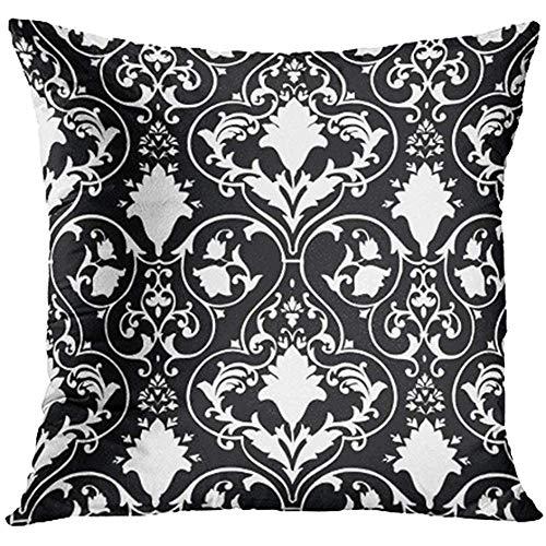 b4439543d9f AORSTAR Taie d oreiller Housse de Coussin Throw Pillow Covers Black Fleur  Antique Scroll White