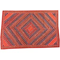 Mogul Interior Tapestry Indian Decorative Red Blue Patchwork Wall Hanging