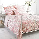 Paoletti Canterbury Tales Toile De Jouy Quilted Bedspread, White/Pink, Superking