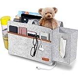 SIMBOOM Poche de Lit, Sac de Rangement de Chevet mit Boîtes à Mouchoirs pour Télécommande, Tablette, Câble de Recharg, Magazi