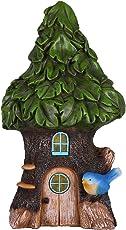 Hanna's Cottage 24cm Solar Feenhaus Gartenfigur für außen LED Solarleuchten Wasserdicht Elfenhaus Garten Deko Solar Gartenbeleuchtung aus Harz Grün Baum(Blaue Vogel)