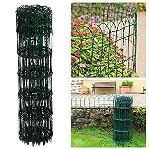 950mm X 10m Garden Border Fence Green PVC Coated Galvanised Wire Lawn Edge Fe
