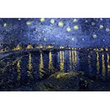 """The Museum Outlet - Starry Night Over The Rhone By Van Gogh, Stretched Canvas Gallery Wrapped. 11.7x16.5"""""""