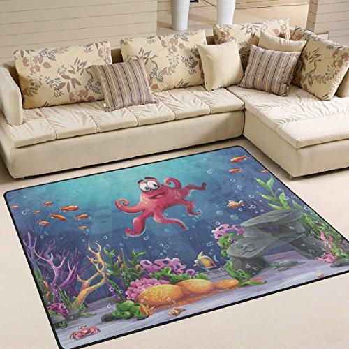 Moderner Octopus Coral und bunte Reefs Algen Sand, ein Wohnzimmer Teppiche Teppich Schlafzimmer Teppich für Kinder Play massiv Home Decorator Boden Teppich und Teppiche 160x 121,9cm, multi, 63 x 48 Inch (Coral Reef-dekor)