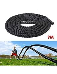 Amzdeal Battle Rope 9m/12m/15m Ø38mm en nylon ultra-résistant Corde d'entrainement Training intensif pour Crossfit Endurance Cardio