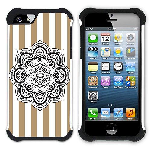 Graphic4You Mandala Blume Streifenmuster (Gelb) Hart + Weiche Kratzfeste Hülle Case Schale Tasche Schutzhülle für Apple iPhone SE / 5 / 5S Hellbraun