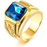 Vnox Anello di fidanzamento di cristallo placcato oro 18K acciaio inox con strass Blu Uomo
