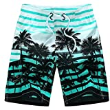 Forthery Men's Shorts Beach Swim Trunks Quick Dry Board Shorts with Pocket US S = Asia M Blue