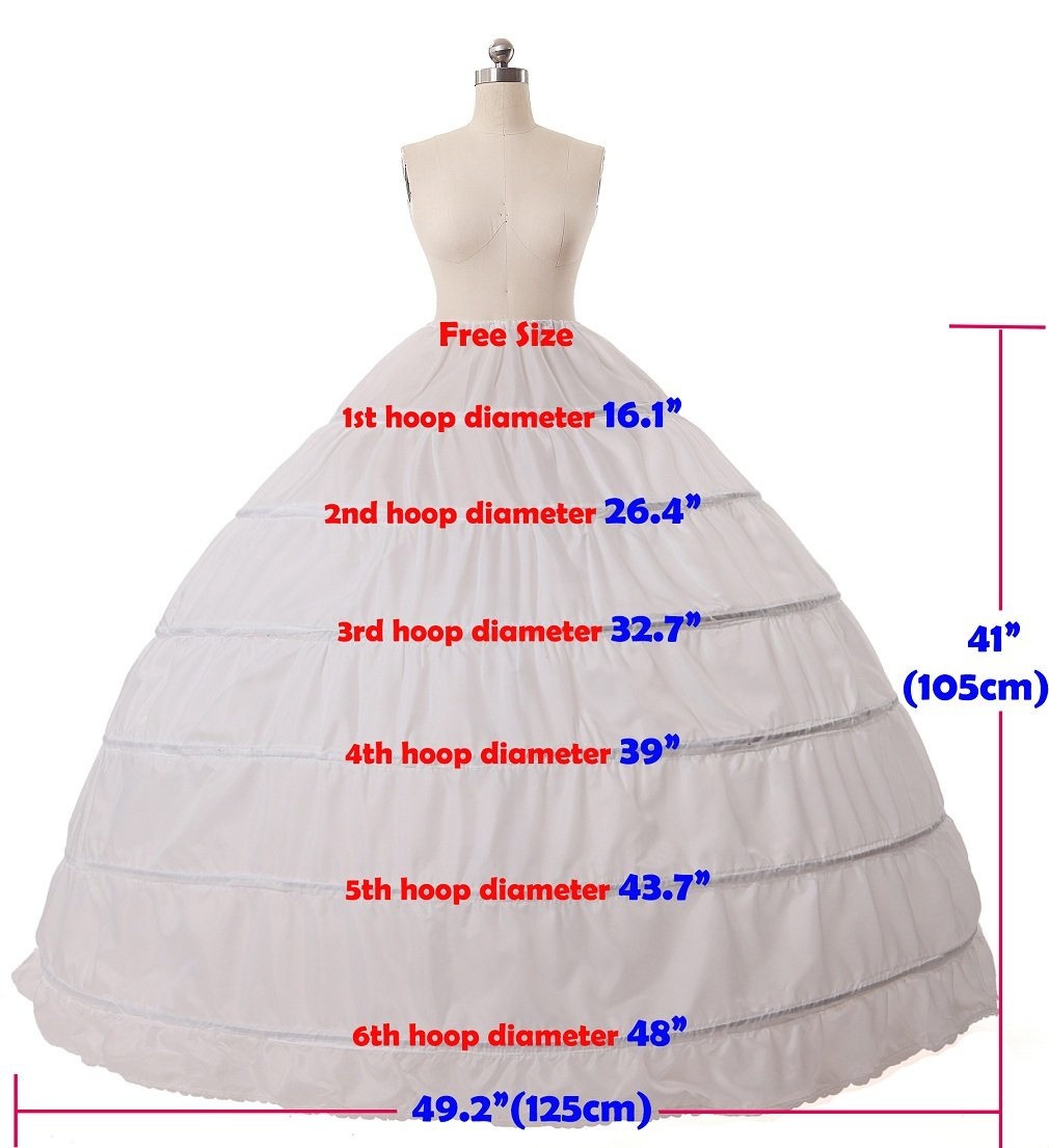 BEAUTELICATE Sottogonna Petticoat Donna Gonna Lunga 6 Cerchio Crinolina Rockabilly Vintage Sottoveste per Vestito Abito… 4 spesavip