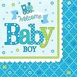 Amscan 511461Papierservietten Welcome Baby Boy, 33cm