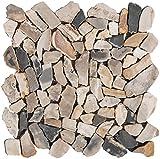 Natursteinmosaik Fliesen grau braun polymosaik Wand Boden Dusche WC Küche | 10 Matten | Art: es-73757_f