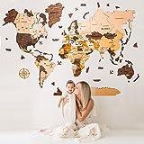 Decoración de pared de mapa del mundo de madera de lujo, Arte de la pared de mapa mundial, Arte de la Pared de Oficina, Mapa