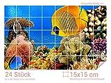 Graz Design 761206_15x15_60 Fliesenaufkleber Unterwasser-Welt für Kacheln | Bad-Fliesen mit Fliesenbildern überkleben (Fliesenmaß: 15x15cm (BxH)//Bild: 90x60cm (BxH))