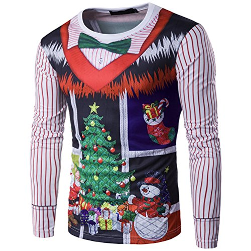 MILEEO Men's Christmas Slim Fit Long-Sleeved Sweatshirts with 3D Colourful  Print 13 color 10