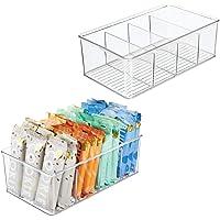 mDesign boite de rangement empilable (lot de 2) – panier rangement pratique en plastique avec 4 casiers – rangement de…