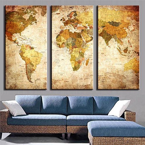 """Printelligent Multiple Frames Wall Framed 3 Panels Painting Vintage World Map In Beige Home Decorattractive Painting (36"""" X 24"""")"""