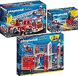 Playmo PLAYMOBIL City Action 3er Set 9462 9463 9468 Große Feuerwache + Feuerwehr-Leiterfahrzeug + Feuerwehrmänner mit Löschpumpe