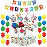 #7: Party Propz Birthday Photobooth Combo (15PCs Photo Booth Props+ 1Birthday Banner+ 10Pcs Birthday Cap+ 25Pcs Multi colour Latex Balloon) / Happy Birthday Photobooth / Happy Birthday Photo Props / Happy Birthday Banner / Happy Birthday Party Supplies / Happy Birthday Party Decoration