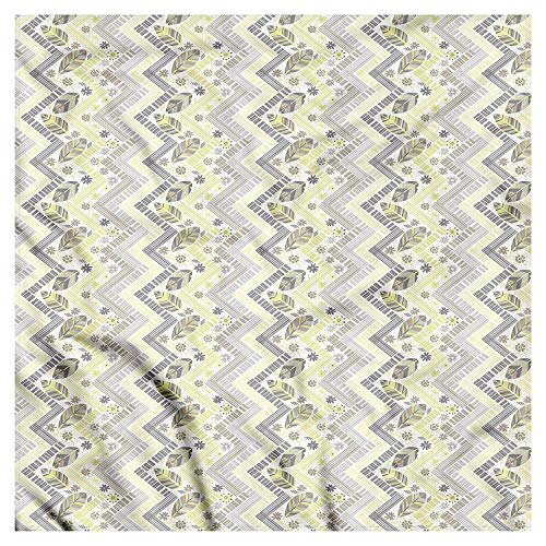 DIMAA Leaves Bandana, Angled Lines Pastel Flowers, Unisex Head and Neck Tie 100x100cm -