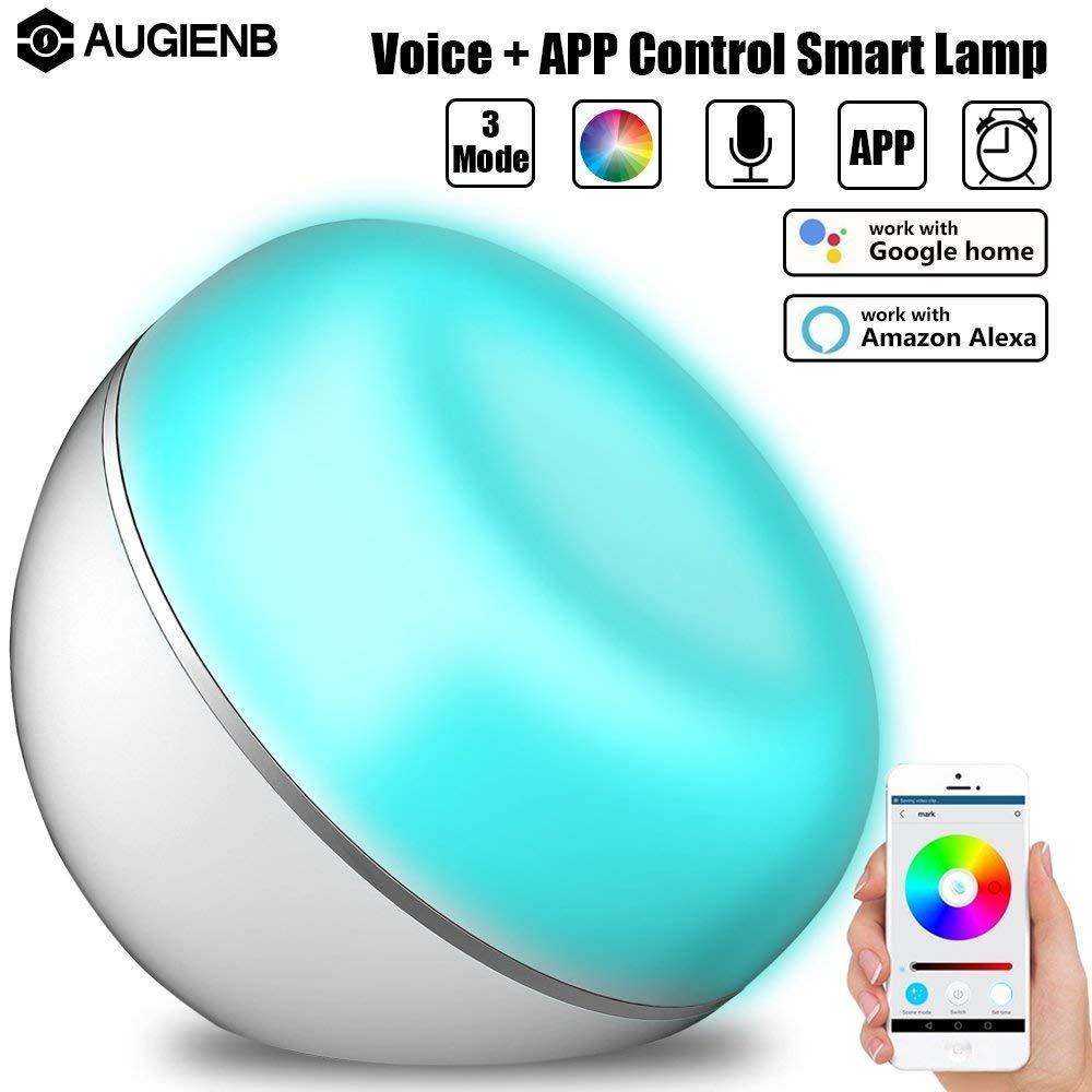 Veilleuse intelligente, Alexa Contrôle vocal + App Lumière de Nuit Intelligente Sans Fil LED Lampe Veilleuse Intelligente Alimenté par USB