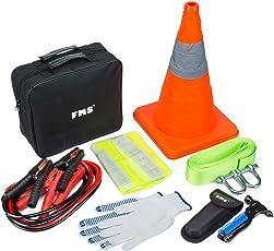 FMS Kfz Notfallset Auto Verbandskasten 6-tlg, 2,5m Starthilfekabel, 5T Abschleppseil, Baumwollhandschuhe, Multifunktions NotfallHammer, Warnweste, Zusammenklappbar Markierungskegel