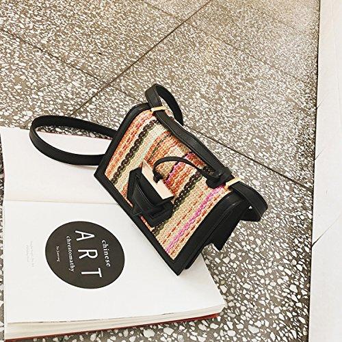 Weibliche Dreiecksperre schlagfarbe Flip Speck paket Schulter messenger bag Schwarz 2