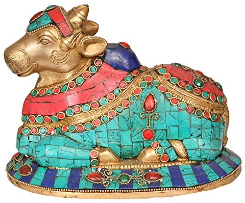 Exotic India Nandi-Vāhana Statue de Shiva-Laiton avec Incrustation