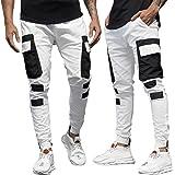 Dazzerake Pantaloni da Uomo a Blocchi di Colore Mid-Rise Cargo Combat Pantaloni Lunghi da Lavoro Multitasche