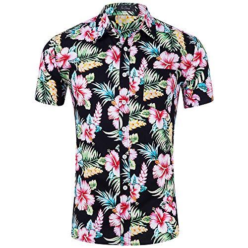 Kuson Urlaub Strand Hawaiihemd Shirt Freizeithemd Kurzarm mit modischem Druck (M, Beach Blumen) (Blume Mann Kostüm)