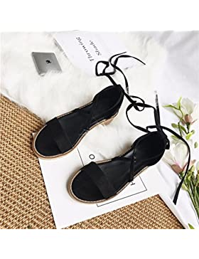 SDKIR-Cross-tie-ups con spessi femmina con sandali, studenti satin punta aperta estate sandali ,38, nero