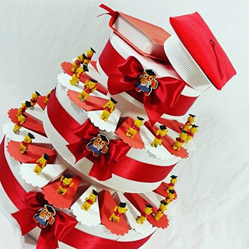 Bonbonnière pour diplômés - étuis pour dragées avec Winnie l'Ourson + dragées rouges de la marque Crispo et petites cartes incluses