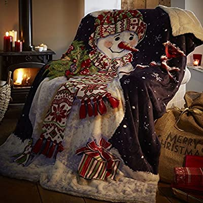 Cosy Snowman Sherpa Throw 130.170 cm
