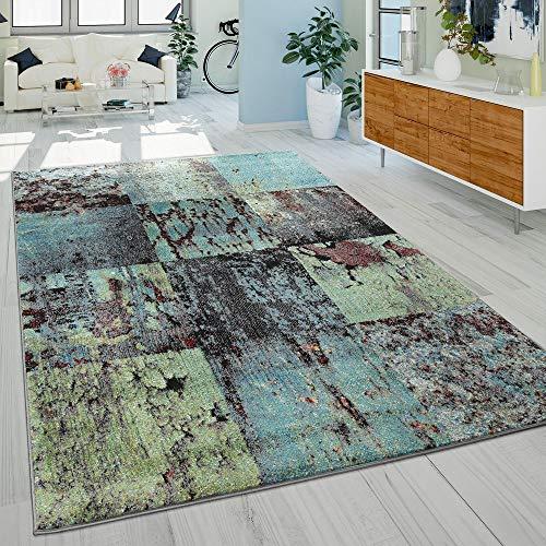 Paco Home Designer Teppich Modern Wohnzimmer Ã-lgemälde Abstrakt Rost Optik In Grün Schwarz, Grösse:160x220 cm - Abstrakt-modern-teppich