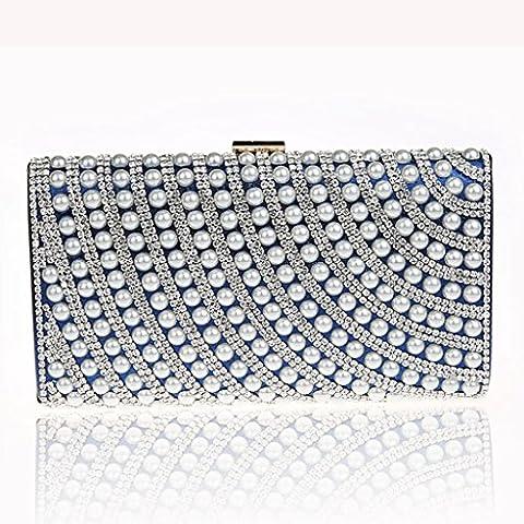 Il nuovo sacchetto di sera di modo della borsa borsetta banchetto vestito bag sposa diamante anche borsa ( colore : Blu navy ) - Luminoso Perline Blu