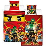 Ropa de cama infantil de franela reversible de Lego Ninjago, 135 x 200 cm + 80 x 80 cm, 100% algodón, medidas según estándar alemán