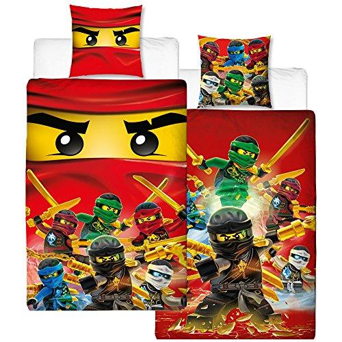 Lego Ninjago Kinder-Bettwäsche Fire Champion - 135x200 cm + 80x80 cm - 100% Baumwolle Linon - Cole - Jay - Kai - Lloyd - Zane - Nya - Misako - Sensai Wu - Renforcé - deutsche Größe - Wende-Motiv -