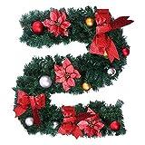 everso 1.8m Tannengirlande Weihnachtsgirlande Künstlich mit Bälle und Schleife Weihnachten Deko Girlande Weihnachtsdeko (Rot)
