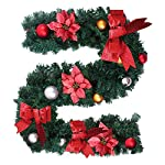 6Ft/1.8M ghirlanda di Natale per le scale camini Natale ghirlanda decorazione Natale ghirlanda corona con fiore e fiocco