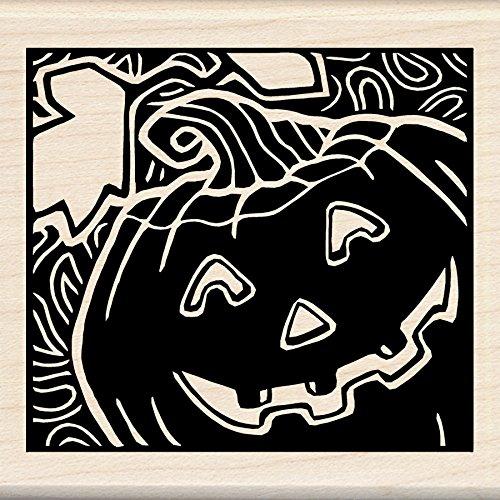 n montiert Gummi Stempel, 3von 3Zoll, Woodcut Jack O 'Lantern (Inkadinkado Stempel Halloween)