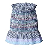 Aelegant Damen Sommer Vintage Bunte Streifen Minirock mit Volants Rüsche Saum Hohe Taille Schlank Bodycon Bleistiftrock A-Linie Rock