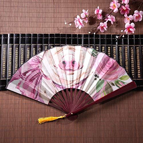 WYYWCY Girly Folding Fan Niedlichen Cartoon Schweinchen Verliebt In Bambusrahmen Quaste Anhänger Und Stoffbeutel Japanische Fans Handheld Handfächer Für Frauen Folding Chinese Fan Mit Griff