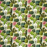 Baumwollstoff Stoff Dekostoff Digitaldruck Kaktus Kakteen grau grün
