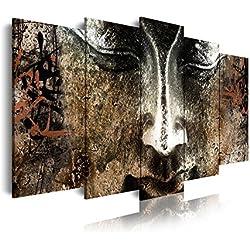 DekoArte 423 - Cuadro moderno en lienzo 5 piezas XXL zen buda cara de piedra feng shui, 200x3x100cm