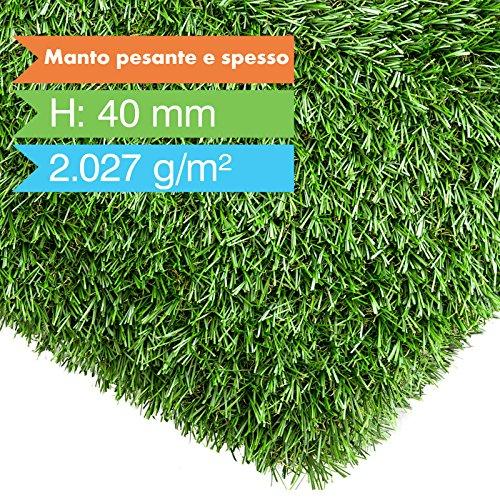 casa pura Erba sintetica Nantes | Prato sintetico | Per giardino e balcone | Drenante Colore e design naturale | 6000 ore di stabilità ai raggi UV | 17 misure, 200x100 cm