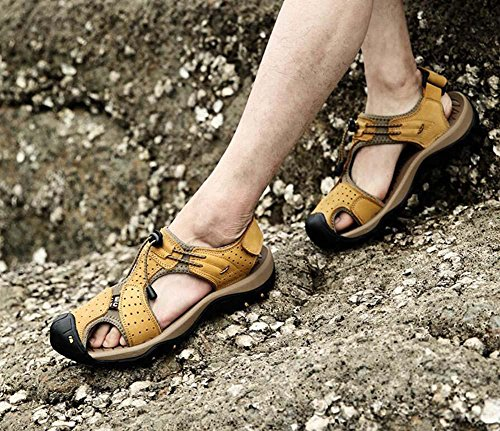 Onfly Männer Jungen Geschlossene Zehe Leder Beiläufig Sandalen Hausschuhe Rutschfest Atmungsaktiv Gehen Draussen Sandalen Wasser Schuhe Lässige Sneakers Strandschuhe Athletische Sandalen Yellow