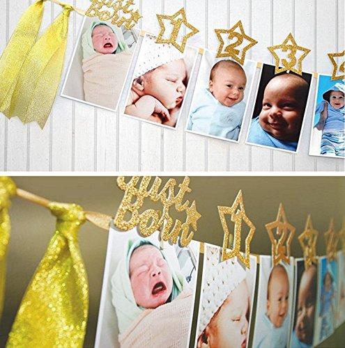 Losuya Baby Kinder 1-12 Monate Foto Banner Golden Glitter Fotos Rahmen Bunting Wandbehang Fotoalbum für 1. Geburtstag Party Dekoration